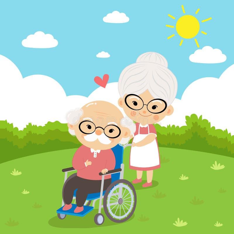 Äldre par tar omsorg som sitter på rullstolen royaltyfri illustrationer