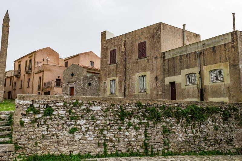 Äldst bebodd medeltida stad i Europa, Sicilien, Erice arkivbilder