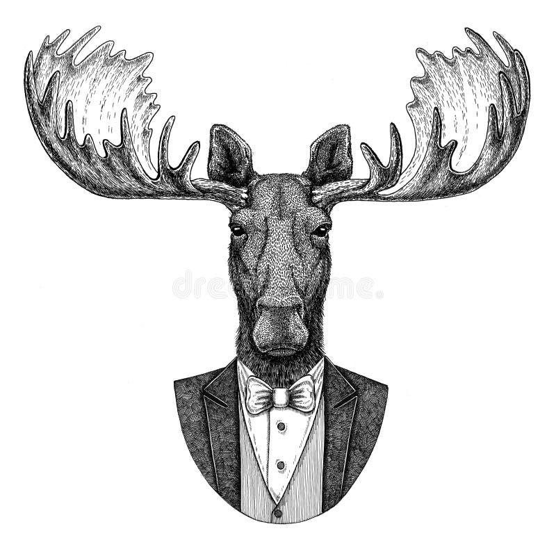 Älg dragen illustration för älgHipster djur hand för tatueringen, emblem, emblem, logo, lapp, t-skjorta vektor illustrationer