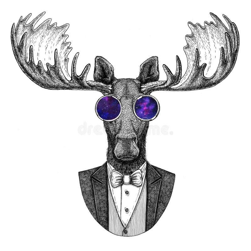 Älg dragen illustration för älgHipster djur hand för tatueringen, emblem, emblem, logo, lapp, t-skjorta royaltyfri illustrationer