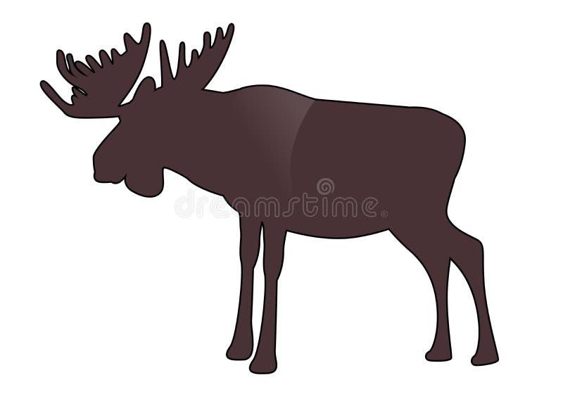 Älg eller älg med stora horn som isoleras på vit bakgrund stock illustrationer