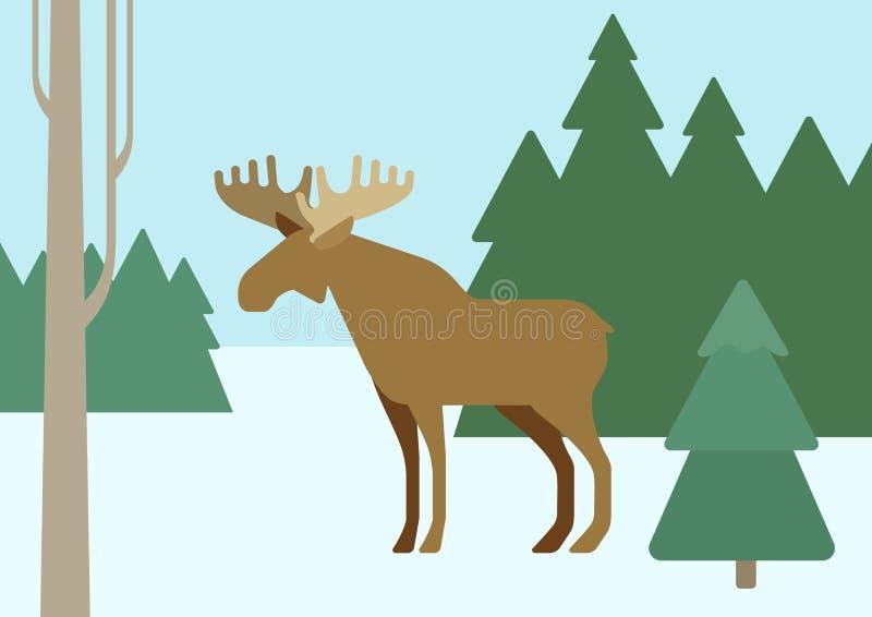 Älg i vilda djur för vektor för tecknad film för lägenhet för vinterskoglivsmiljö royaltyfri illustrationer