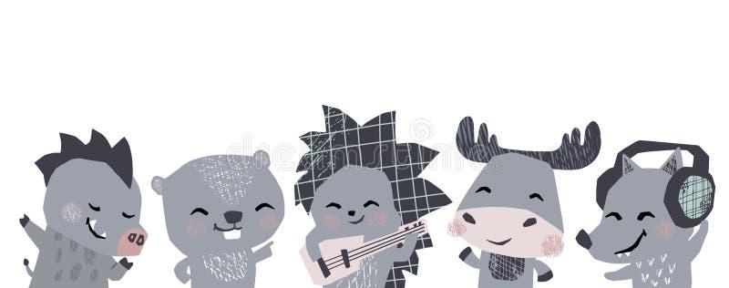 Älg igelkott, varg, galt, gulligt baner för bävermusikmusikband Djur dansar, lekgitarren, lisen hörlurar stock illustrationer