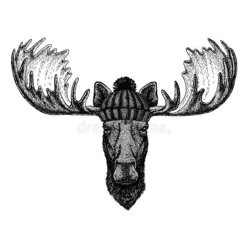 Älg kallt djur för älg som bär den stack vinterhatten Varmt lock för huvudbonadbeaniejul för tatueringen, t-skjorta, emblem royaltyfri illustrationer