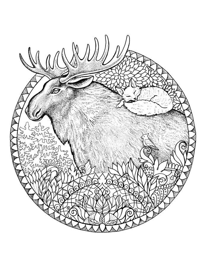Älg med en räv på hans baksida i ramen av blommor och modeller stock illustrationer