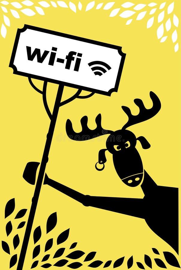 Älg med ett tecken stock illustrationer