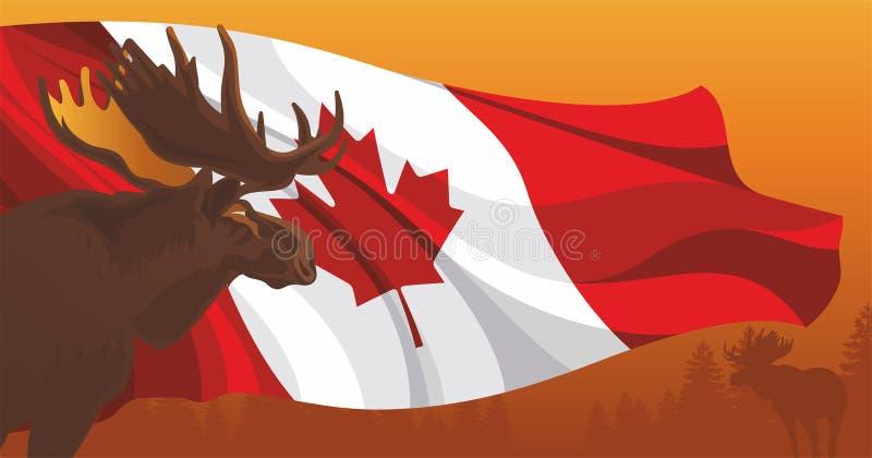 Älg mot flaggan av Kanada stock illustrationer