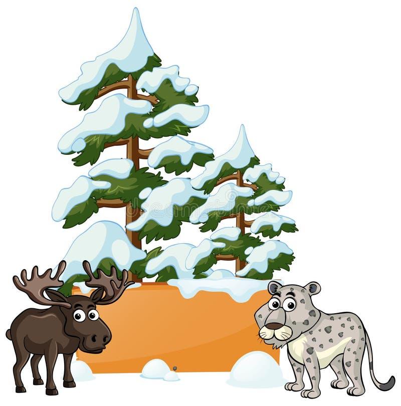 Älg och gepard i snön vektor illustrationer