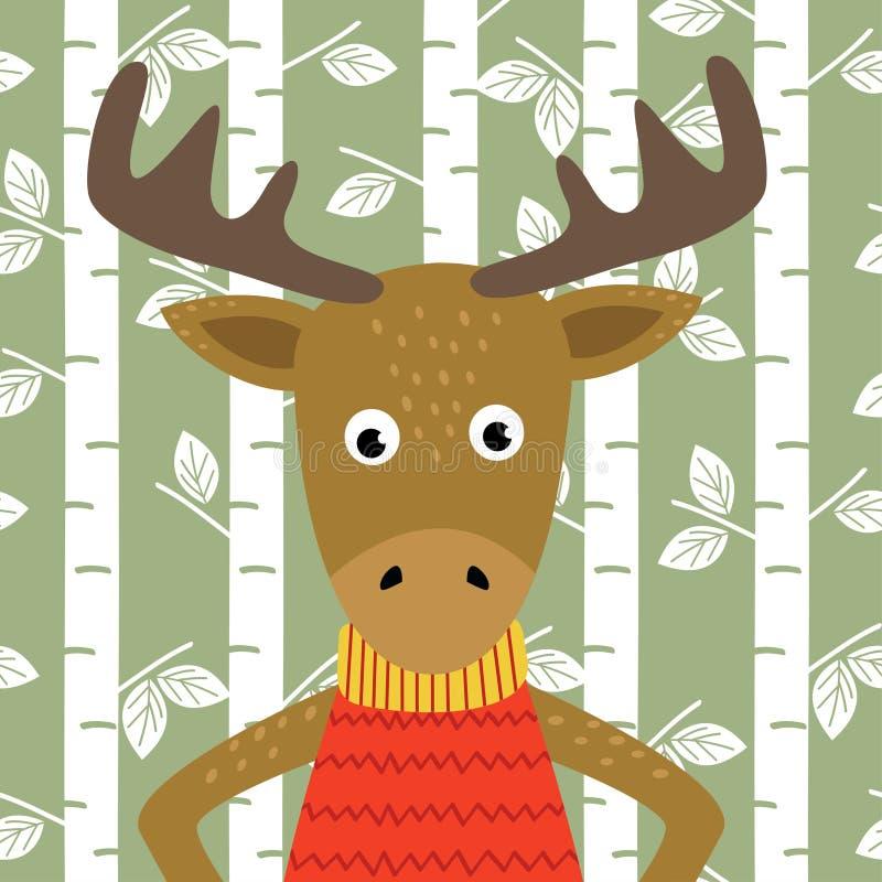 Älg på bakgrund av björkträd stock illustrationer