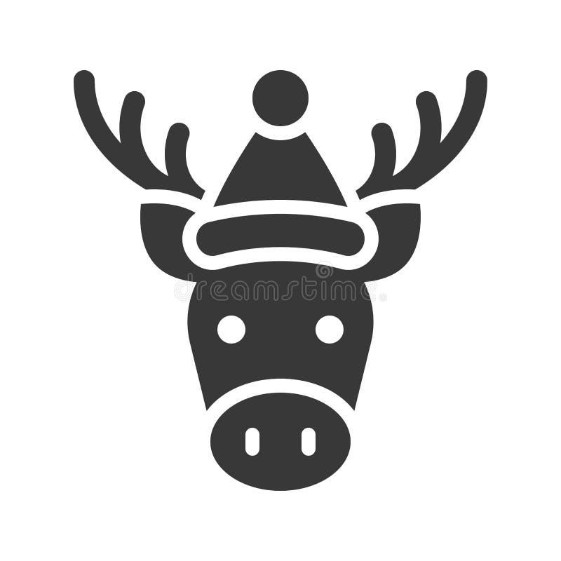 Älg som bär design för symbol för santa hattkontur royaltyfri illustrationer