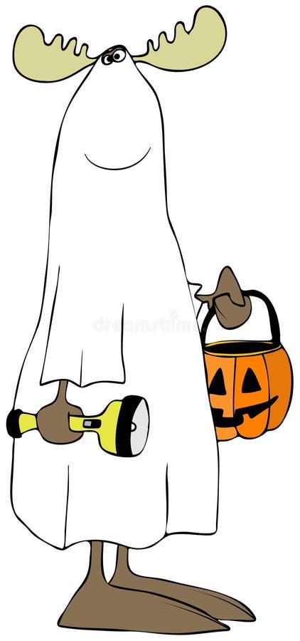 Älg som bär en spökedräkt royaltyfri illustrationer