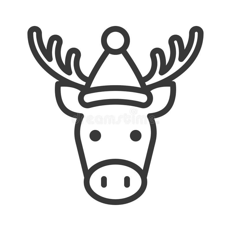 Älg som bär slaglängden för symbol för santa hattöversikt den redigerbara stock illustrationer