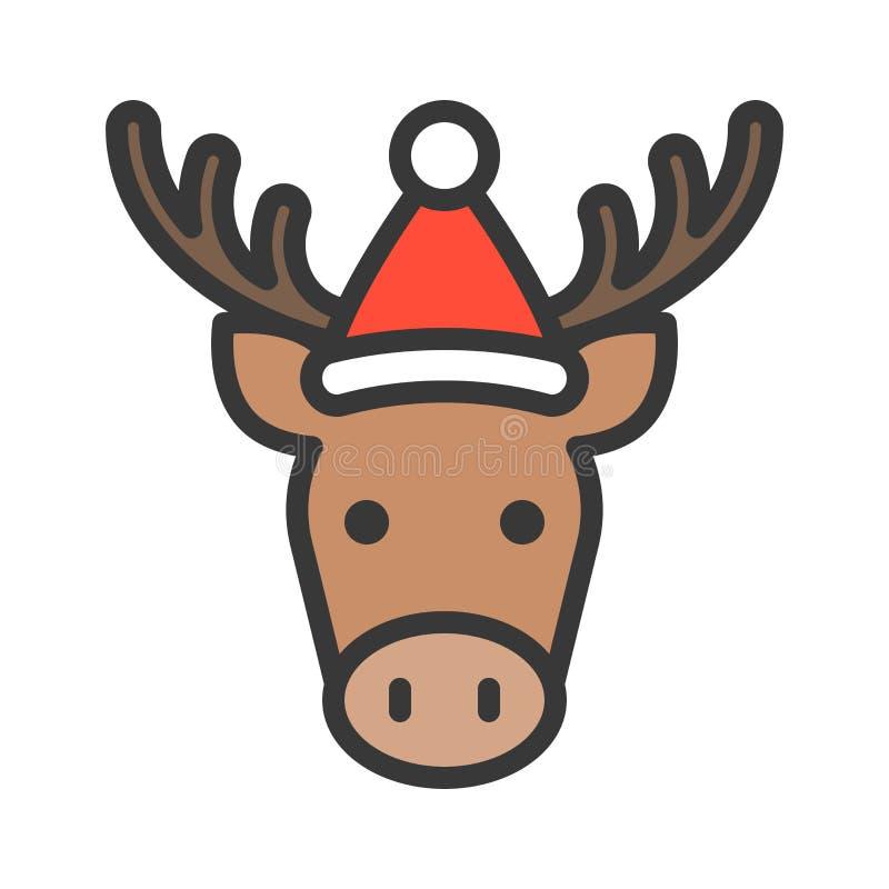 Älg som bär slaglängden för symbol för santa hattöversikt den redigerbara vektor illustrationer
