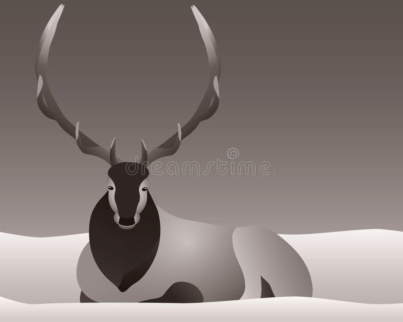 Älg som lägger i snön med horn eller horn på kronhjort stock illustrationer