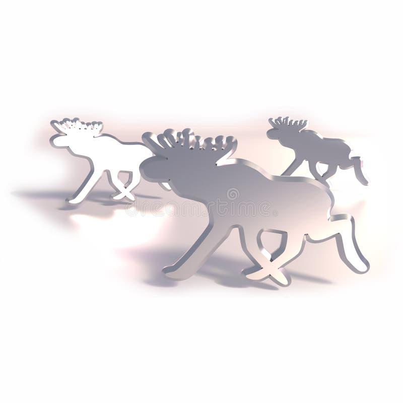 Älg som metallsymboler stock illustrationer