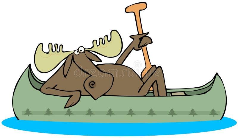 Älg som paddlar en kanot stock illustrationer