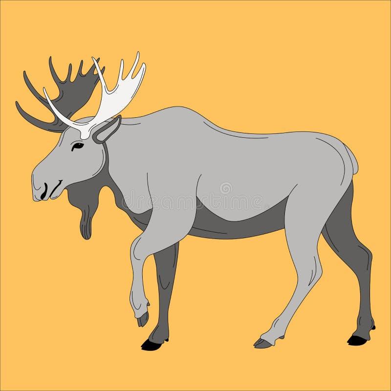 Älg vektorillustration, plan stil, profil royaltyfri illustrationer