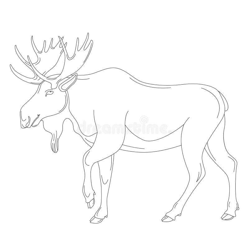 Älg vektorillustration som fodrar attraktionprofil stock illustrationer