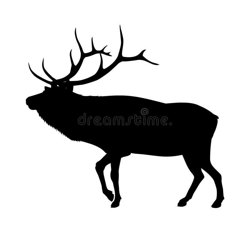 älgsilhouette royaltyfri illustrationer