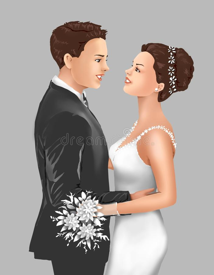 Älska affektion och förbindelsen, bruden och brudgummen, bruden, brudgummen, bruden och brudgummen, bruden, brudgummen, hälsninge vektor illustrationer