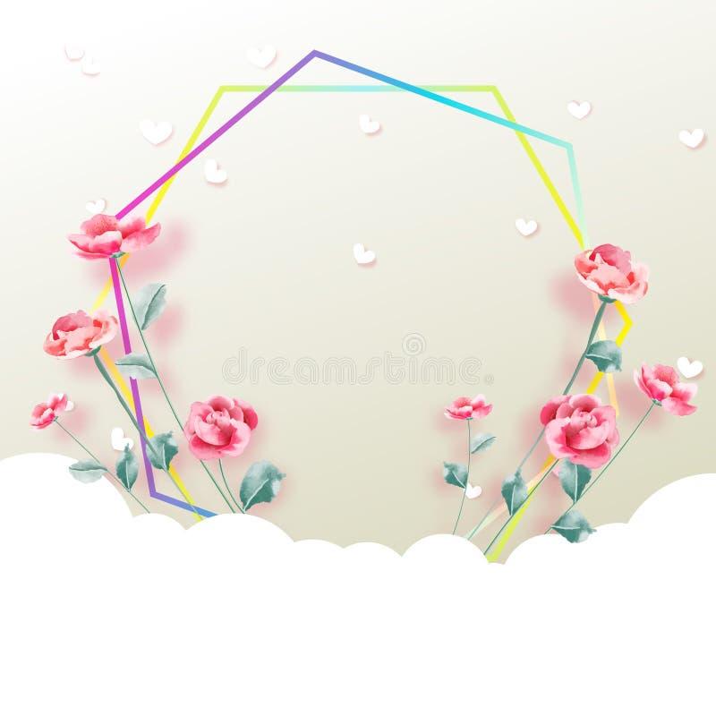 Älska begreppet, bakgrund för dag för valentin` s blomma ramen också vektor för coreldrawillustration Tapet inbjudan, affischer vektor illustrationer