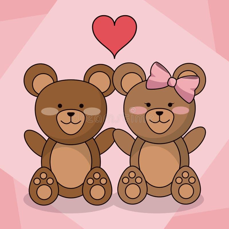 Älska björnpardjuret behandla som ett barn hjärtagarnering royaltyfri illustrationer