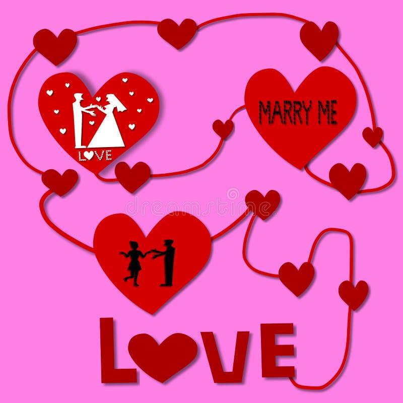 Älska cirkuleringen, konturparförälskelse i röd hjärta royaltyfri illustrationer