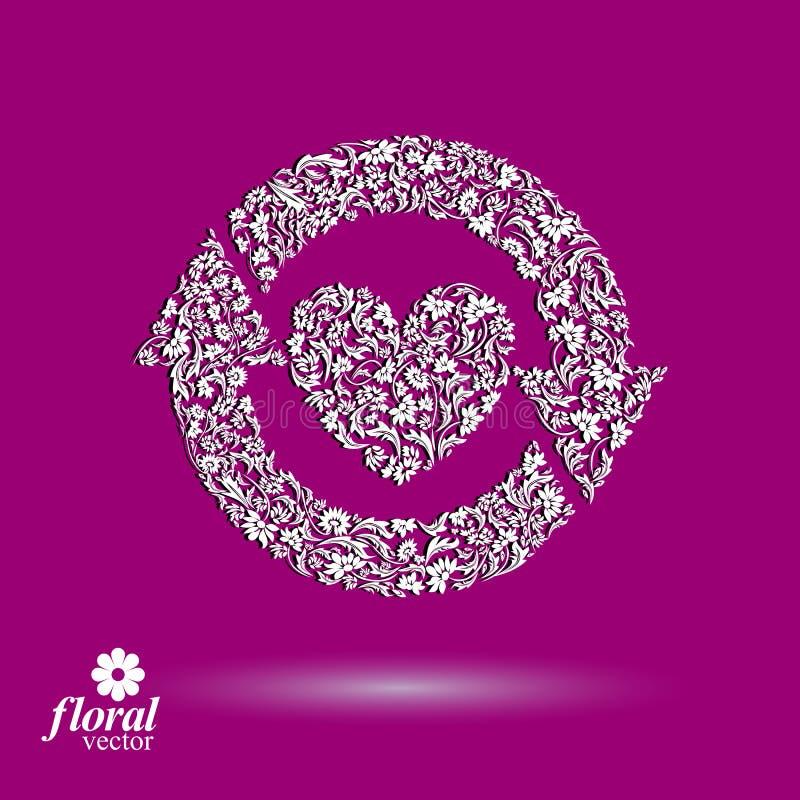 Älska den blom- illustrationen för hjärta med uppdateringpilar, härligt r stock illustrationer