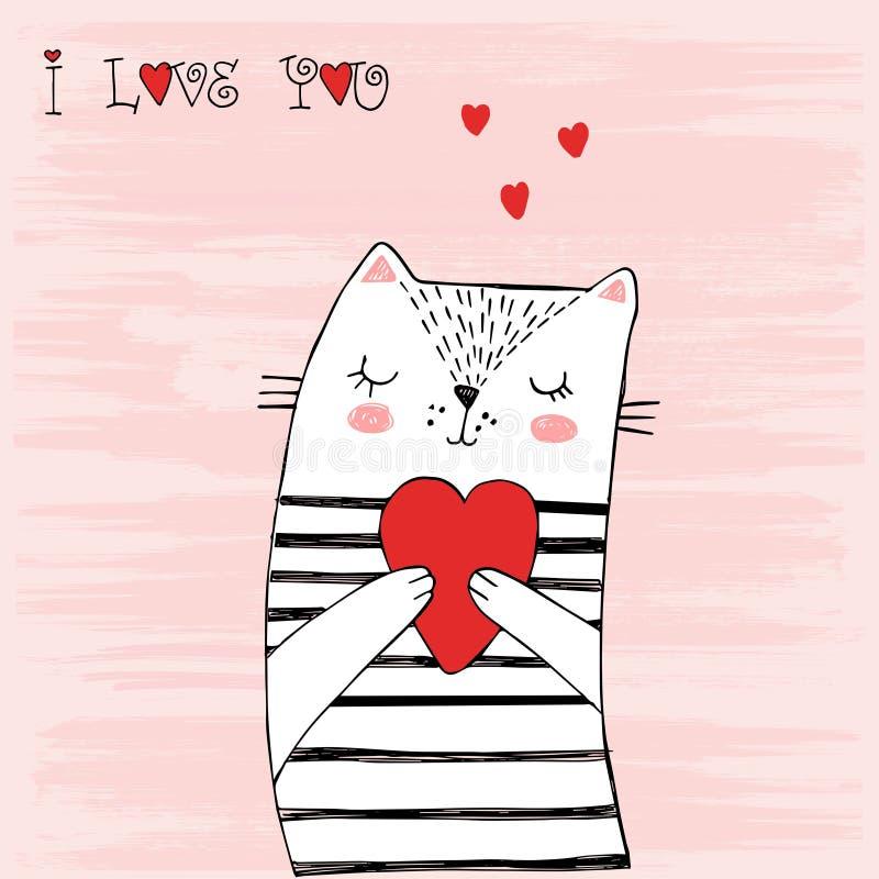 Älska den randiga katten Vit katt med svarta band och en hjärta Vektorillustration för utskrift på t-skjortor, vykort, affischer, vektor illustrationer