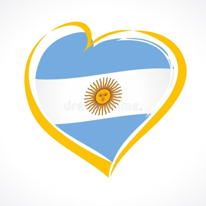 Älska det Argentina emblemet, självständighetsdagenbaner med hjärta i nationsflaggafärg vektor illustrationer