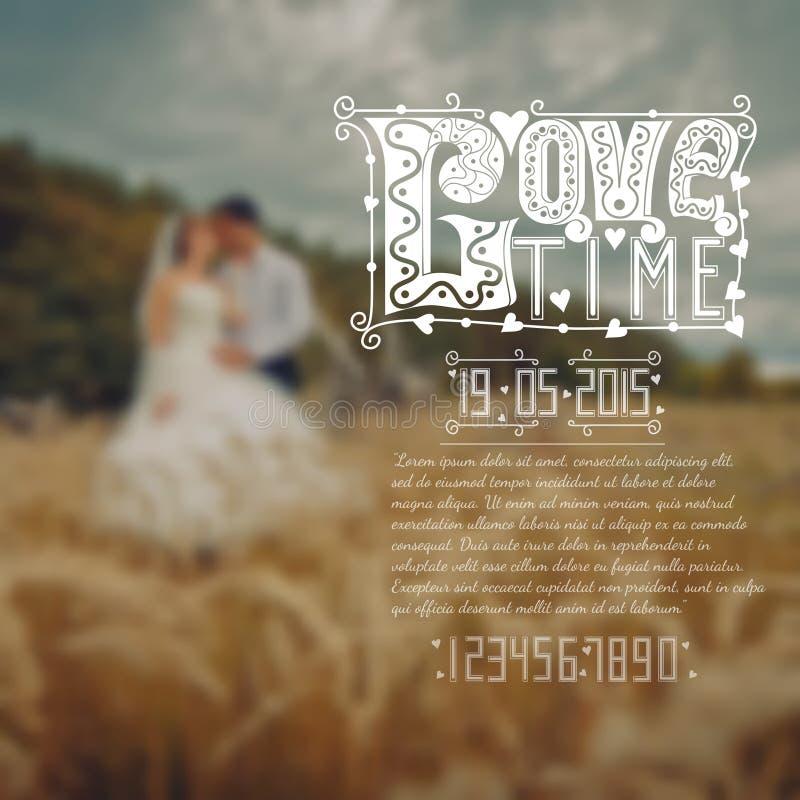 Älska det calligraphic text för tid och datumet av bröllop och prövkopian av nummer vektor illustrationer