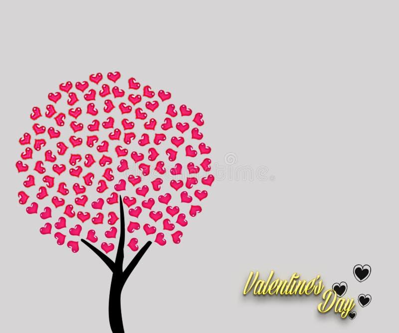 Älska det röda trädet med sidor i hjärtaform som isoleras på bakgrund för ljus färg Det lyckliga kortet för hälsningen för dagen  stock illustrationer
