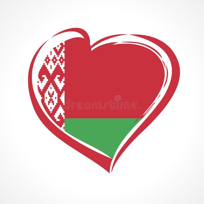 Älska det Vitryssland emblemet, självständighetsdagenbaner med hjärta i nationsflaggafärg stock illustrationer