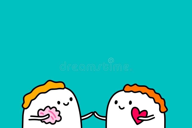 Älska dig den utdragna vektorillustrationen för handen i tecknad filmstil med lyckliga par, texturerad bakgrund, vibrerande färge vektor illustrationer