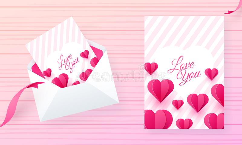 Älska dig designen för det hälsa kortet som dekoreras med pappers- klippta hjärtaformer royaltyfri illustrationer