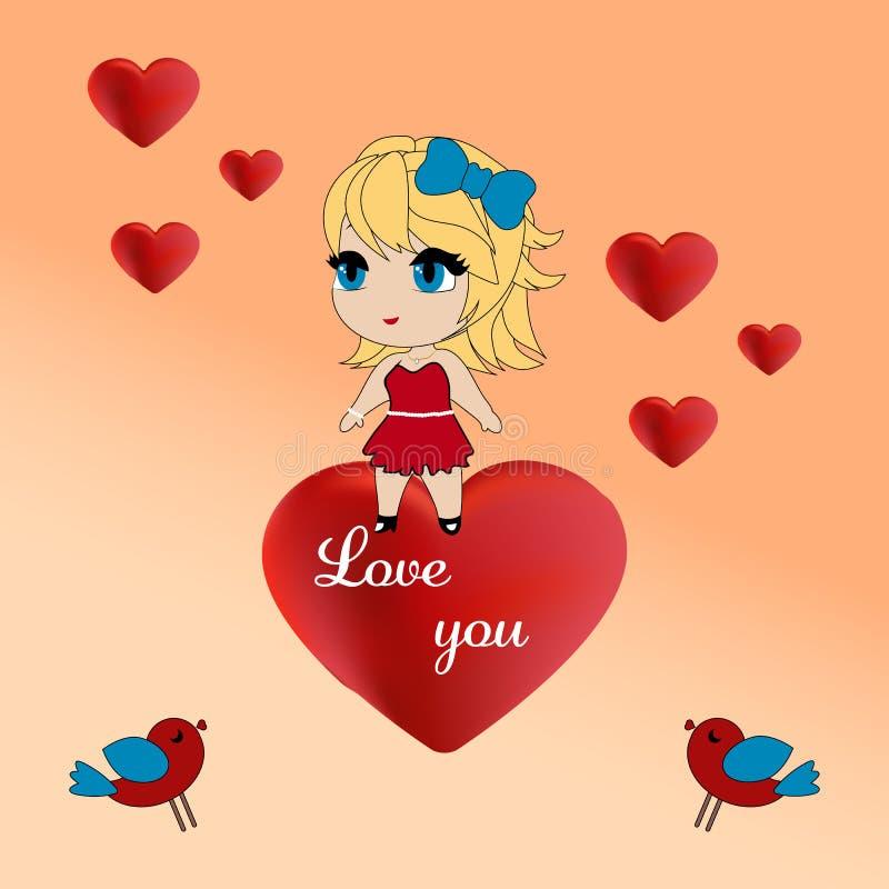 Älska dig det hälsa kortet, valentindag vektor illustrationer