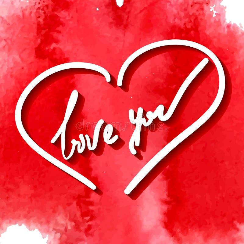 Älska dig, handhandstil stock illustrationer