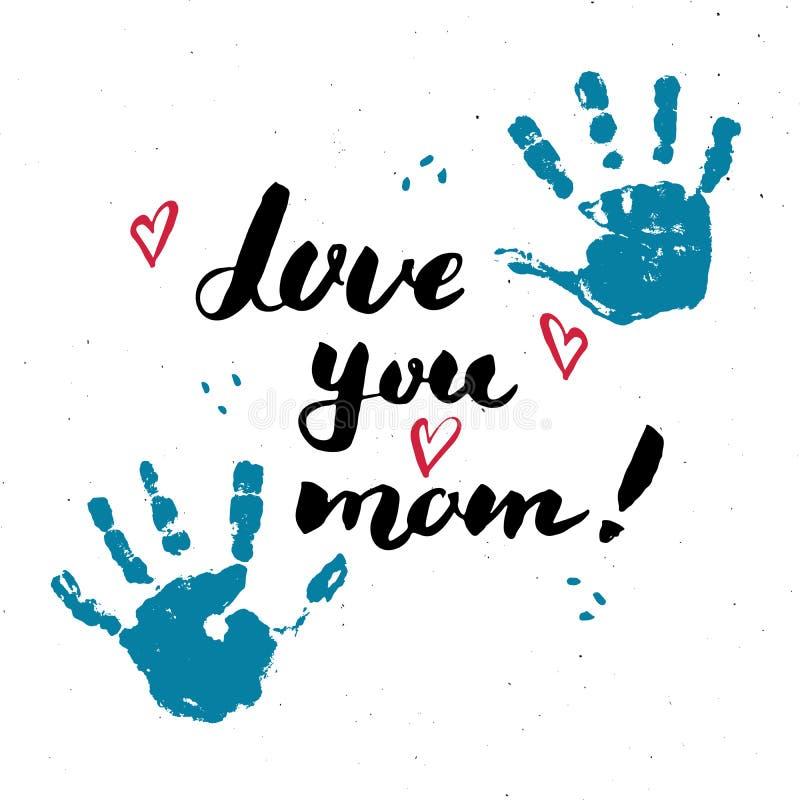 Älska dig, mamma! Behandla som ett barn det handskrivna märka tecknet för kalligrafi, dragit hälsa kort för mors dag handen med h stock illustrationer