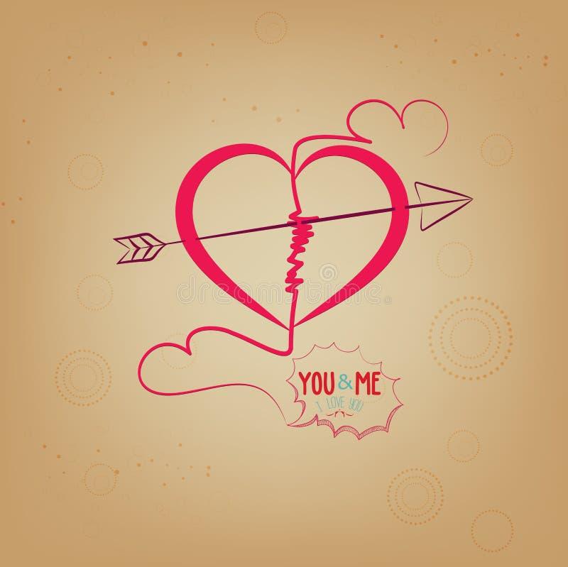älska dig med hjärta dig och mig royaltyfri illustrationer