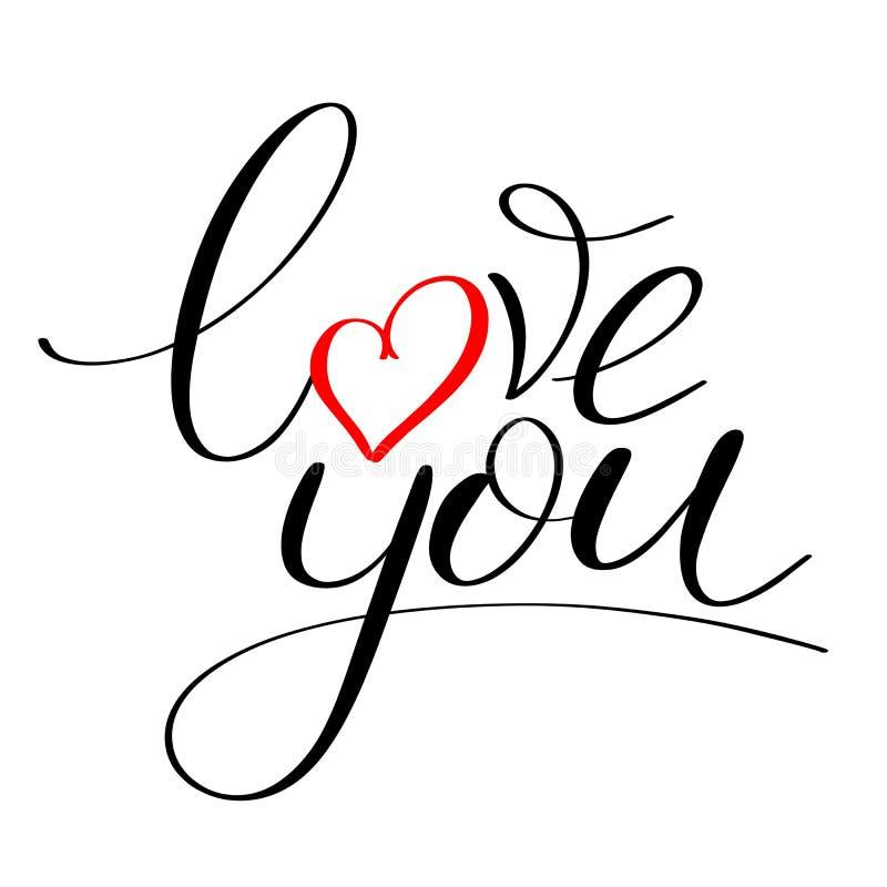 Älska dig med hjärtatext stock illustrationer