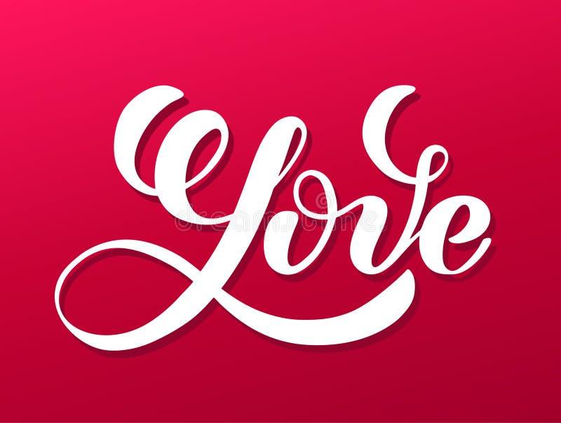 Älska dig, skriftlig bokstäver för hand Romantisk kalligrafi Kort för valentindaghälsning med kalligrafi design tecknad elementha stock illustrationer
