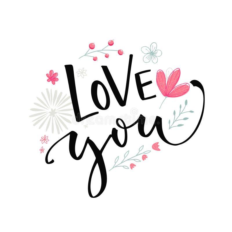 Älska dig text med rosa blommor och filialer Design för vektor för kort för dag för valentin` s med modern kalligrafi royaltyfri illustrationer