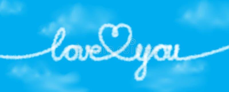 Älska dig text- och hjärtaform från realistiska moln på en blå himmel Vektorillustration för baner- eller affischdesign royaltyfri illustrationer