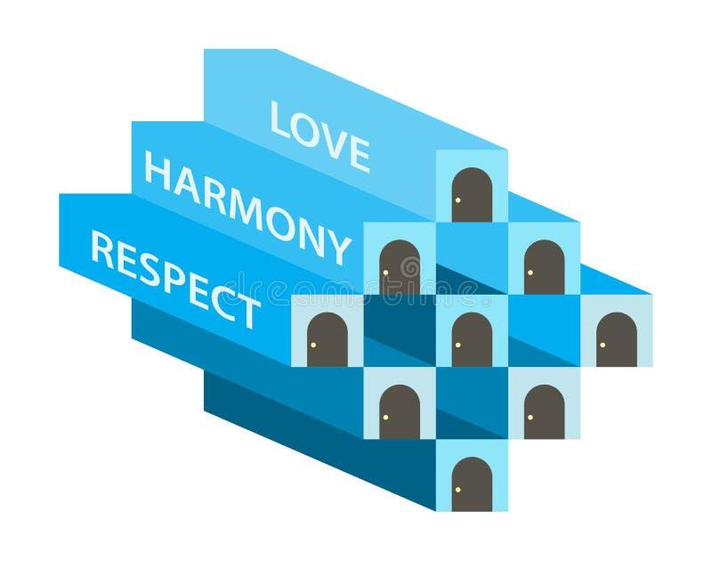 Älska din granne som dig Christian Illustration royaltyfri illustrationer