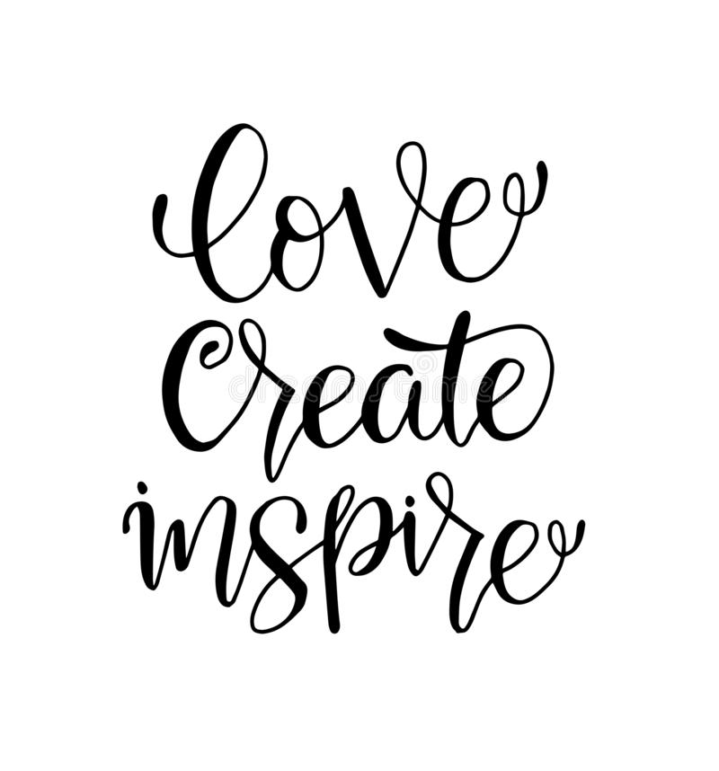 älska för att skapa för att inspirera - handen som märker positivt citationstecken för inskrift, för motivation och för inspirati vektor illustrationer