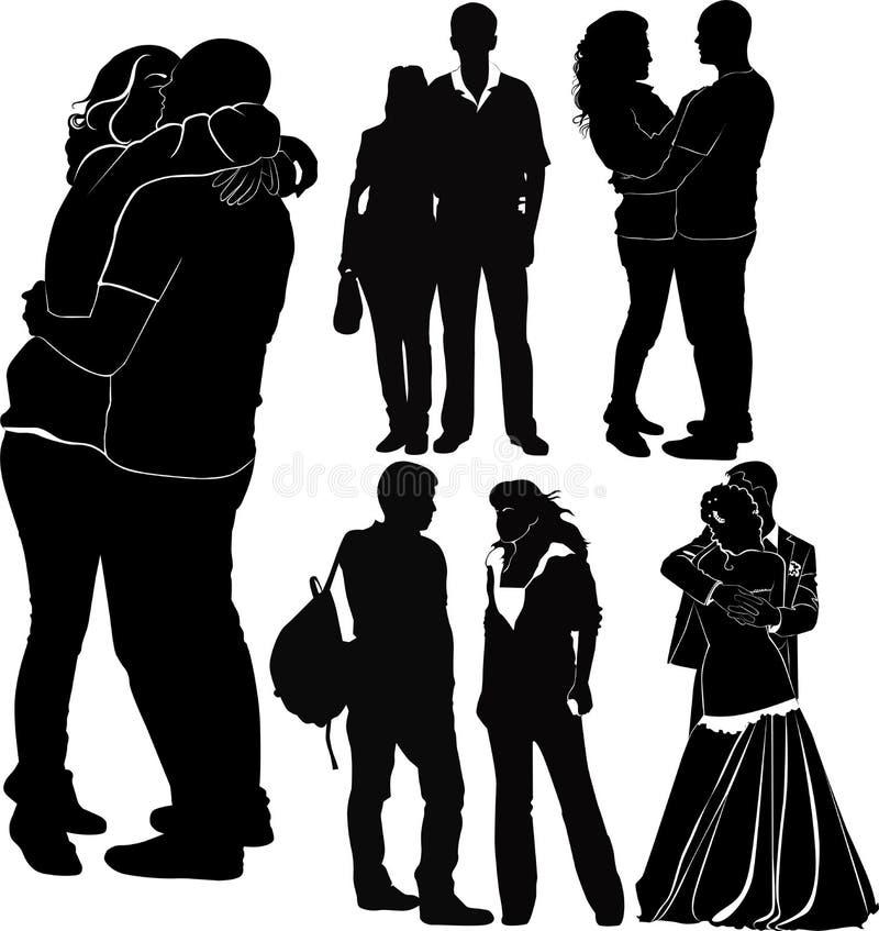 älska för par stock illustrationer