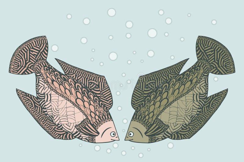 Älska fisk två Zentovavektor Zentangle Undersea djur royaltyfri illustrationer