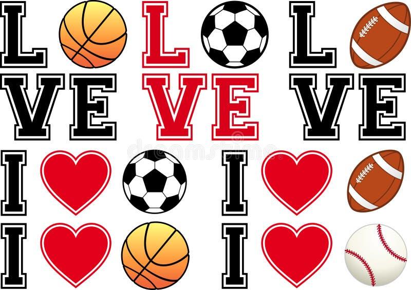 Älska fotboll, fotboll, basket, baseball, vecto stock illustrationer
