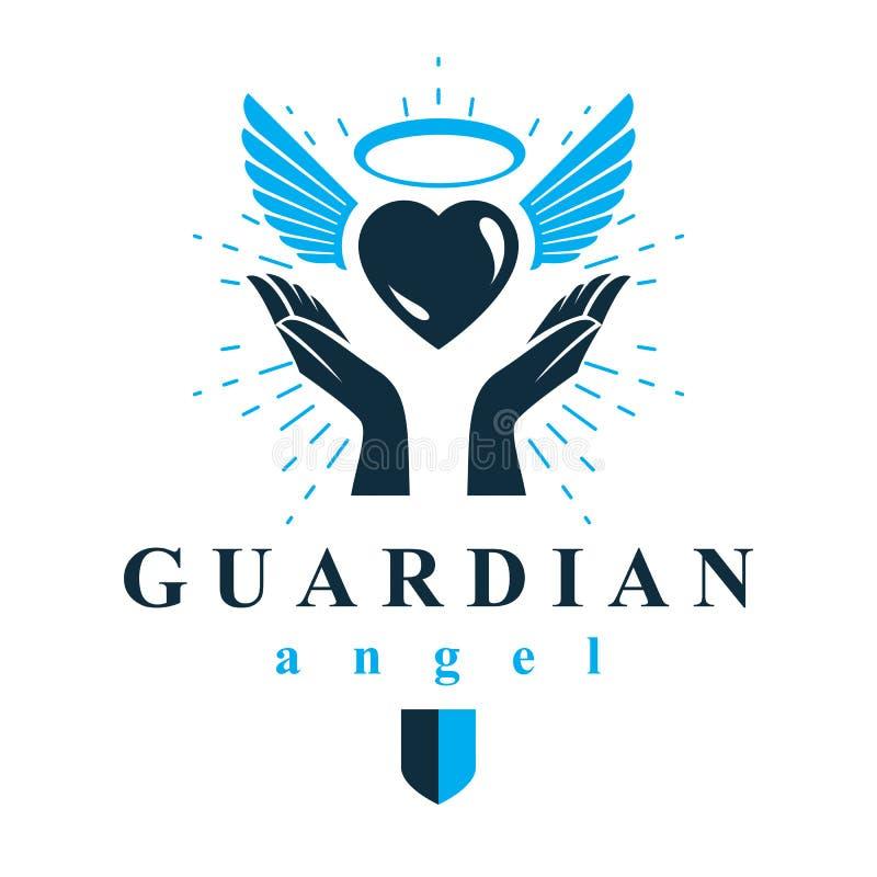 Älska hjärta i människahänder som ger hjälpmedelmetaforen Helig ande gr stock illustrationer