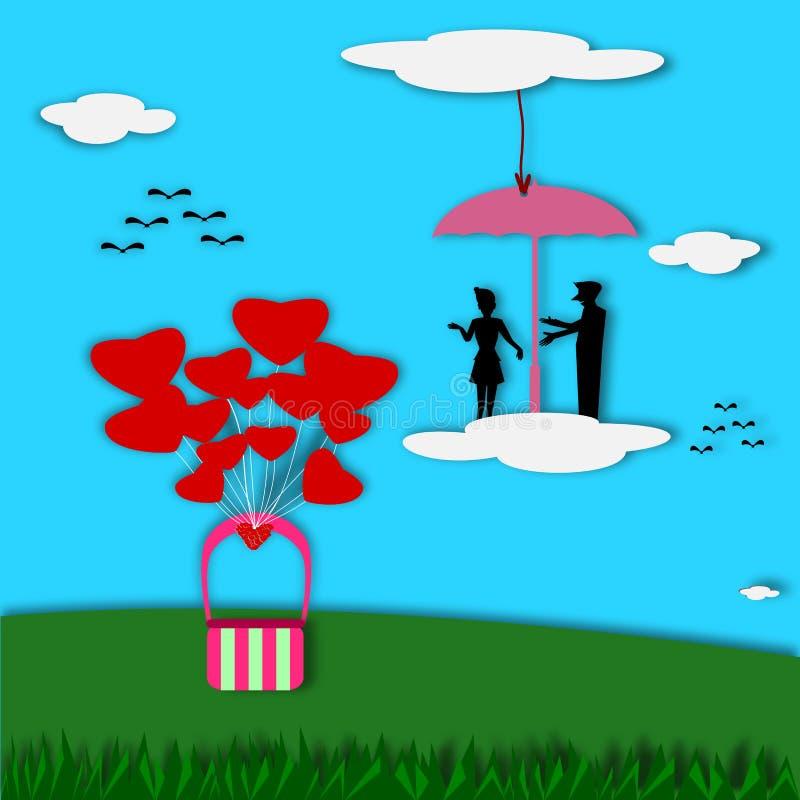 Älska kortet, konturparförälskelse i paraply på molnet royaltyfri illustrationer